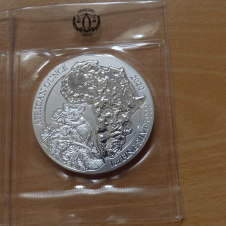 Rwanda 50 Amafaranga 2020 Bushbaby silver 99.9% 1 oz