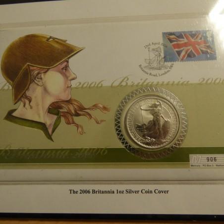 UK 2£ Britannia 2006 colored silver 95.8% 1 oz+CoA in Luxury Book