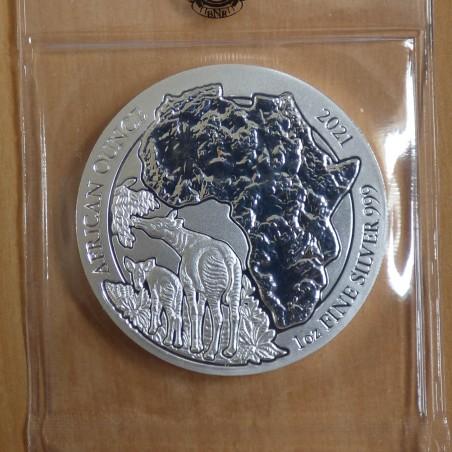Rwanda 50 Amafaranga 2021 Okapi silver 99.9% 1 oz