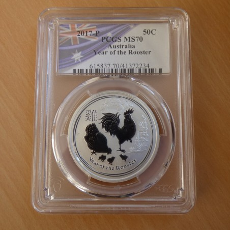 Australia 50 cents Year of the Rooster 2017 MS70 (PCGS) silver99.9% 1/2 oz