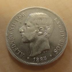 Spain 5 pesetas 1885 (87)...
