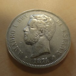 Spain 5 pesetas 1871 (74)...