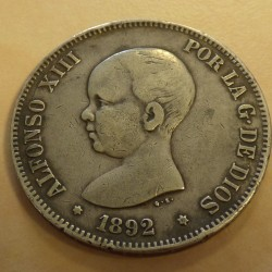 Spain 5 pesetas 1892 (92)...