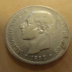 Spain 5 pesetas 1882 (82)...