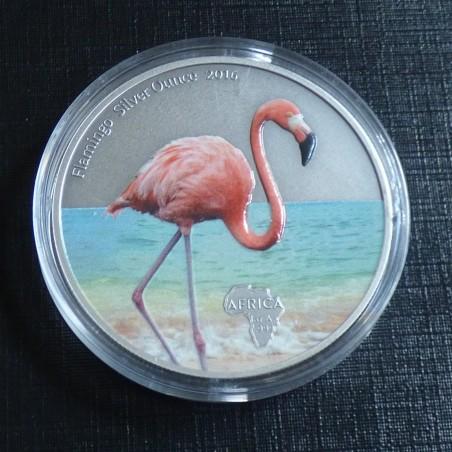 Ghana 5 Cedis 2016 Flamingo colored antique finish silver 99.99% 1 oz + CoA