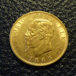 Italy 20 lires 1863 gold...