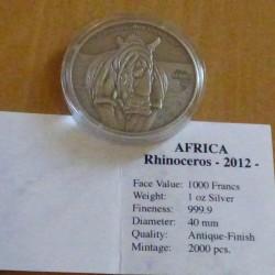 Congo 1000 CFA 2012 Rhino...