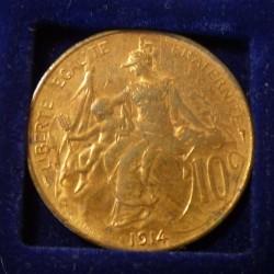 France 10 cents 1914 Bronze...