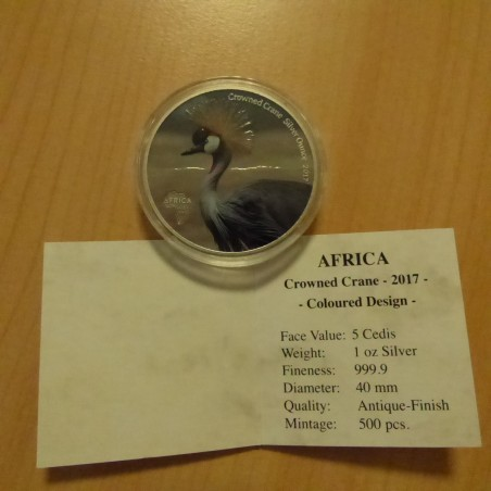 Ghana 5 Cedis 2017 Crowned Crane colored antique finish silver 99.99% 1 oz + CoA