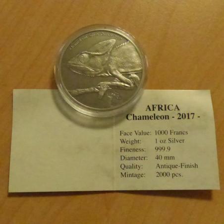 Congo 1000 CFA 2017 Chameleon antique finish silver 99.9% 1 oz