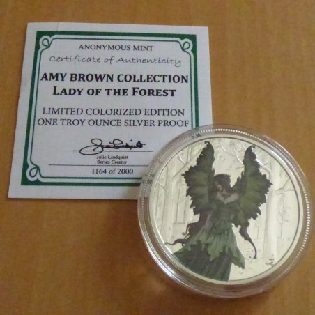 "Round ""Amy Brown"" Lady of the Forest silver 99.9% PROOF colored 1 oz with CoA"