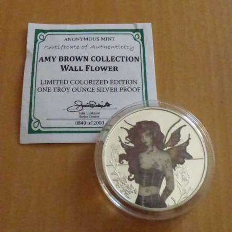 """Round """"Amy Brown"""" Wall Flower silver 99.9% PROOF colored 1 oz with CoA"""