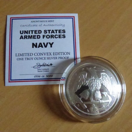 Round Navy Button convex silver 99.9% PROOF 1 oz with CoA