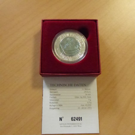 Austria 25 euros 2013 Tunnel Construction silver 90% (9g) + Niobium (6.5g) Box+CoA