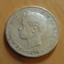 Spain 5 pesetas 1898 silver...