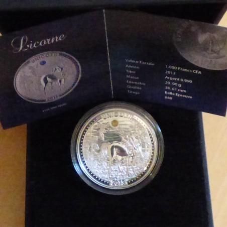 Cameroon 1000 CFA 2013 UNICORN PROOF silver 99.9% (20g) & OPAL + Box +CoA (RARE)