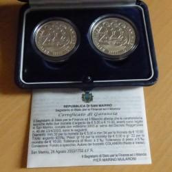 San Marino 5+10 euros 2003...