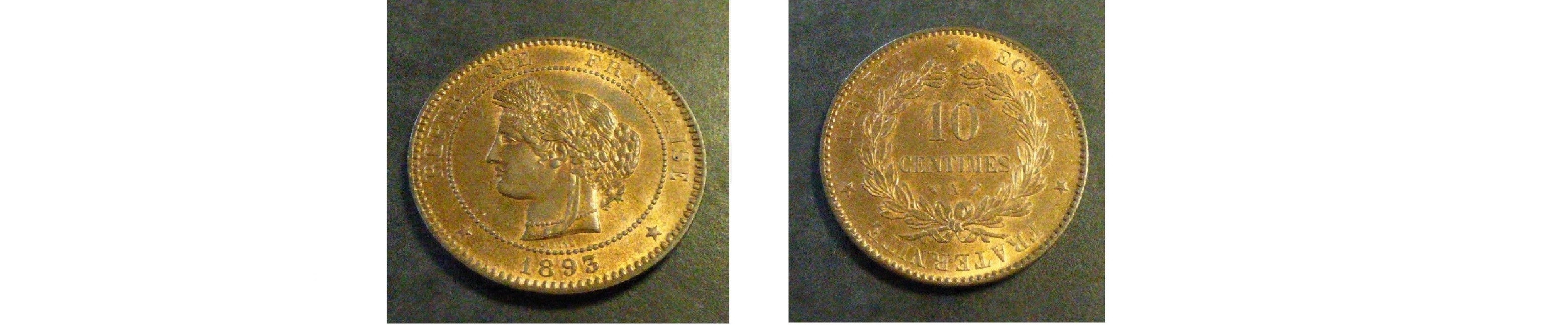 FRANCE 10 CENTS 1893 BRONZE 10G (SUP+/XF+/VZ+)